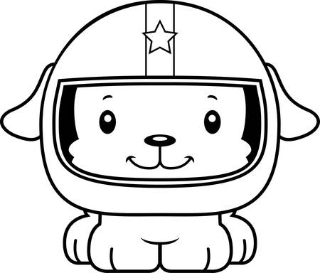 car driver: A cartoon race car driver puppy smiling.