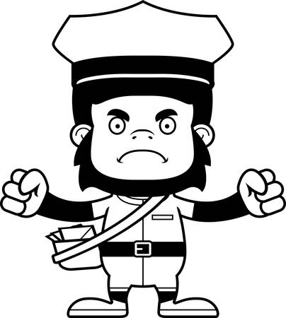 A cartoon mail carrier gorilla looking angry.