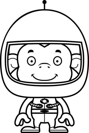 spacesuit: A cartoon astronaut monkey smiling.