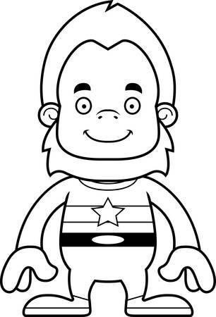 tights: A cartoon superhero sasquatch smiling.
