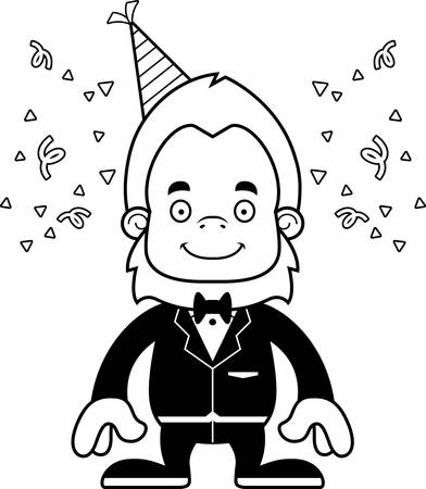 A cartoon party sasquatch smiling.