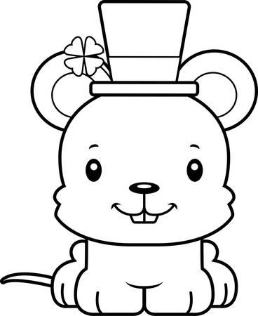 rata caricatura: Un rat�n de dibujos animados sonriente irlandesa.