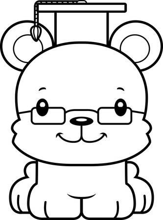 graduacion caricatura: Un maestro de la historieta Sonrisa del oso. Vectores
