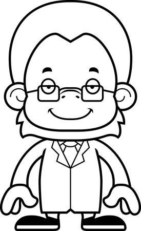 A cartoon scientist orangutan smiling. Illusztráció