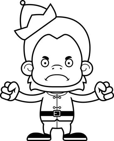 orangutan: A cartoon Xmas elf orangutan looking angry. Illustration