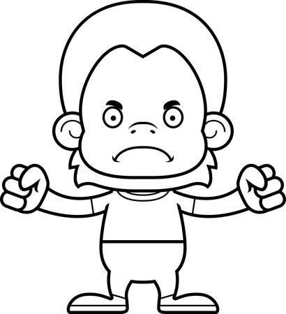 orangutan: A cartoon orangutan looking angry. Illustration