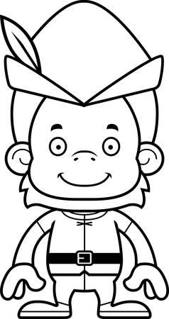 robin hood: A cartoon Robin Hood orangutan smiling.