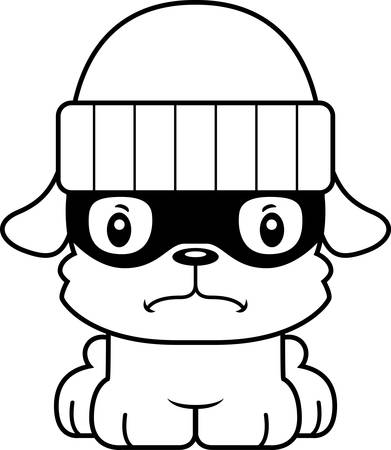 burglars: A cartoon thief puppy looking angry. Illustration