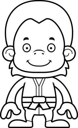 orangutan: A cartoon karate orangutan smiling.