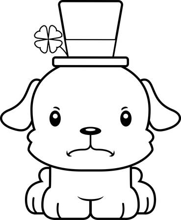 animal st  patricks day: A cartoon Irish puppy looking angry. Illustration