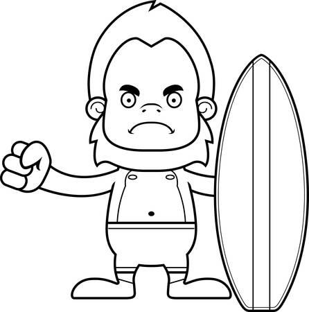 sasquatch: A cartoon surfer sasquatch looking angry. Illustration