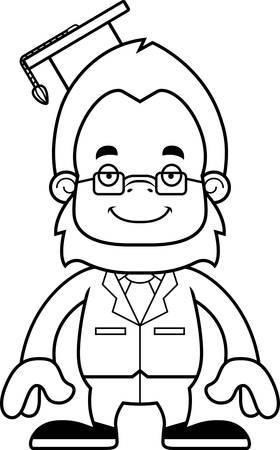sasquatch: A cartoon teacher sasquatch smiling. Illustration