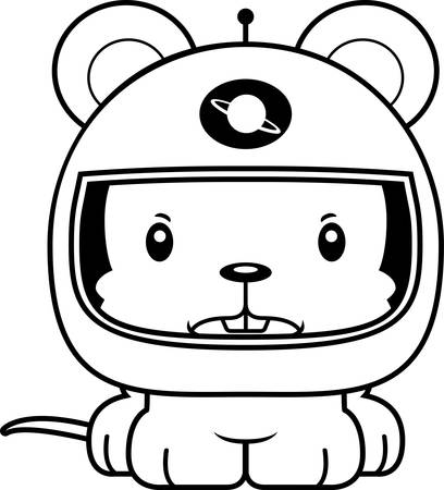 cartoon astronaut: A cartoon astronaut mouse looking angry. Illustration