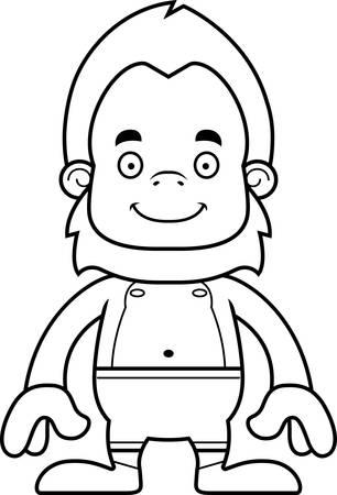 sasquatch: A cartoon sasquatch smiling in a swimsuit. Illustration