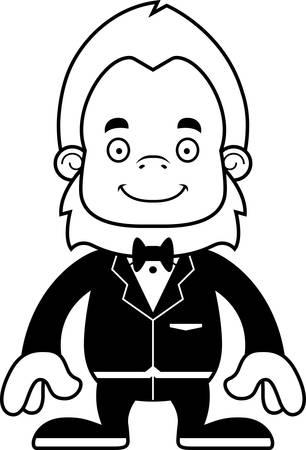 sasquatch: A cartoon groom sasquatch smiling. Illustration