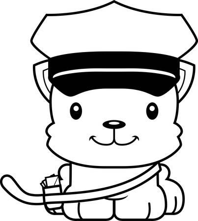 carrier: A cartoon mail carrier kitten smiling.
