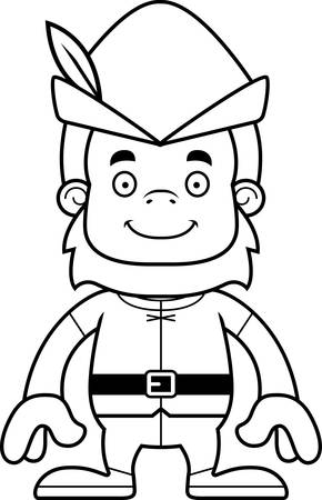 sasquatch: A cartoon Robin Hood sasquatch smiling.