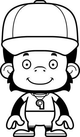 A cartoon  chimpanzee smiling.