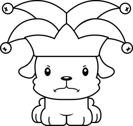 A cartoon jester puppy looking angry. Reklamní fotografie - 44736618