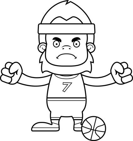 sasquatch: A cartoon basketball player sasquatch looking angry.