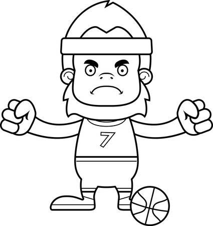 sasquatch: A cartoon basketball player sasquatch looking angry.