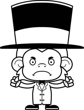 ringmaster: A cartoon ringmaster monkey looking angry.