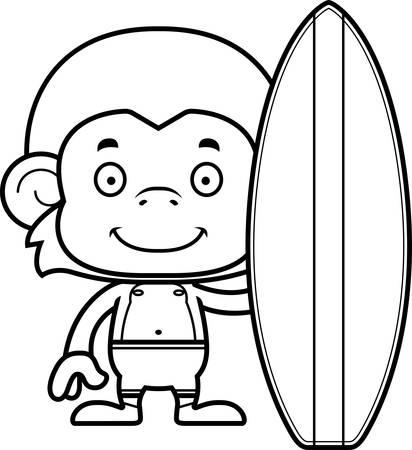 monkey suit: A cartoon surfer monkey smiling.