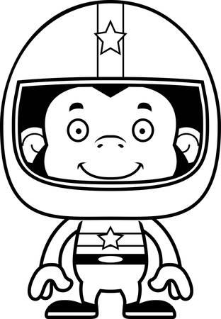 car driver: A cartoon race car driver chimpanzee smiling.