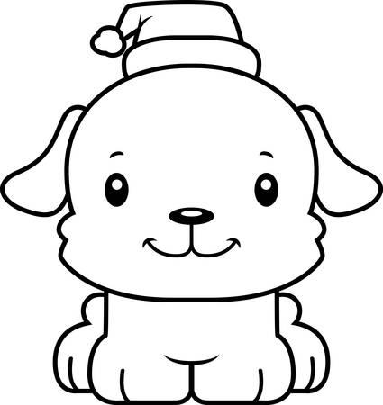 만화 크리스마스 강아지 미소.