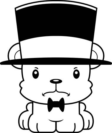 top hat: A cartoon bear looking angry in a top hat.