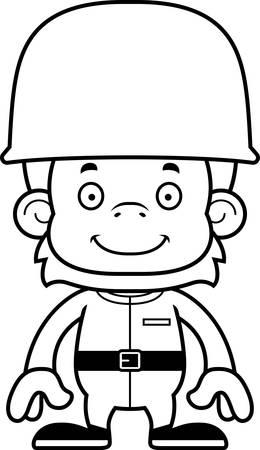 orangutan: A cartoon soldier orangutan smiling.
