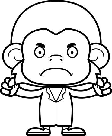 A cartoon doctor monkey looking angry.