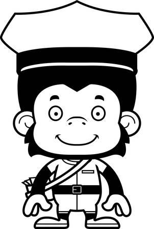 A cartoon mail carrier chimpanzee smiling.