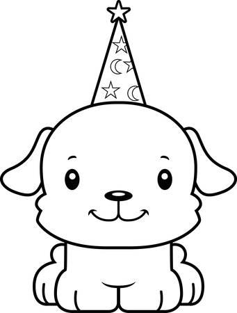 A cartoon wizard puppy smiling.