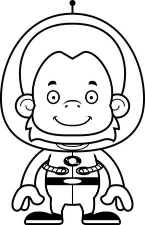 spacesuit: A cartoon spaceman orangutan smiling. Illustration