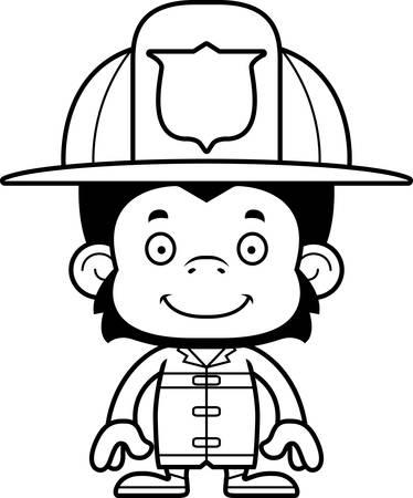chimp: A cartoon firefighter chimpanzee smiling.