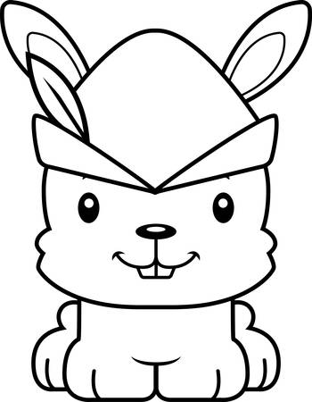 A cartoon Robin Hood bunny smiling.