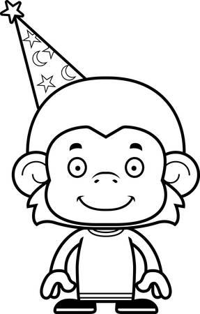 A cartoon wizard monkey smiling.