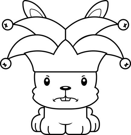 A cartoon jester bunny looking angry.