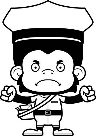 carrier: A cartoon mail carrier chimpanzee looking angry.