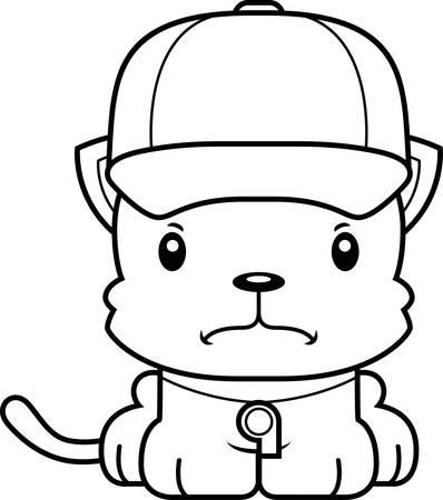 A cartoon  kitten looking angry. Illustration