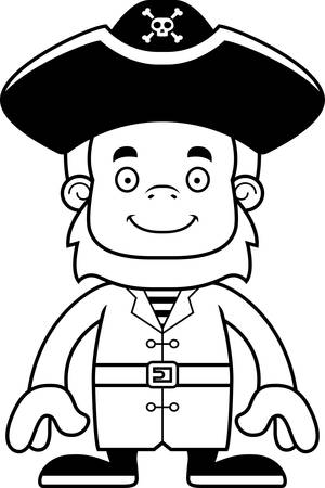 sasquatch: A cartoon pirate sasquatch smiling.