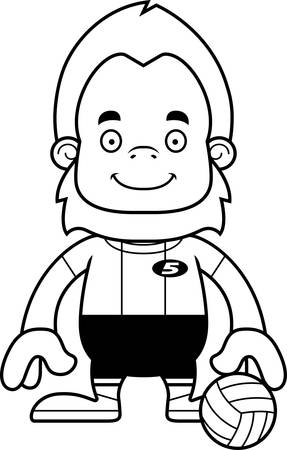 sasquatch: A cartoon volleyball player sasquatch smiling. Illustration