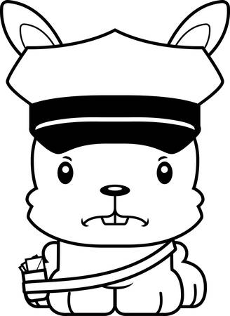 carrier: A cartoon mail carrier bunny looking angry.