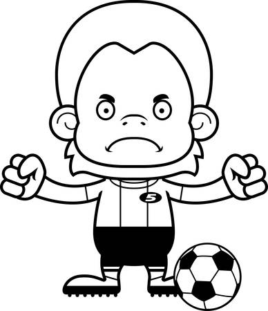 orangutan: A cartoon soccer player orangutan looking angry.