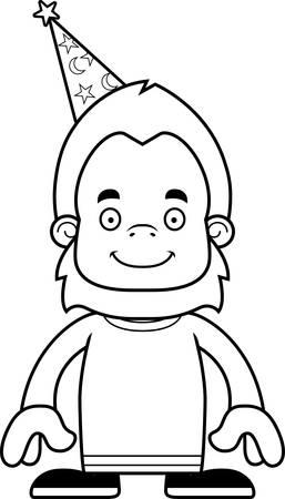 sasquatch: A cartoon wizard sasquatch smiling.
