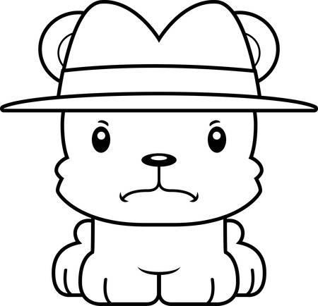 A cartoon detective bear looking angry.