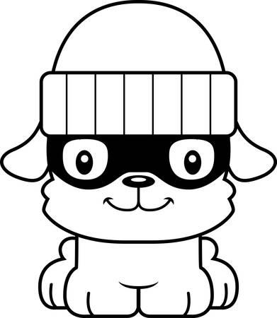 burglars: A cartoon thief puppy smiling. Illustration