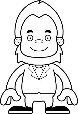 businessperson: A cartoon businessperson sasquatch smiling.