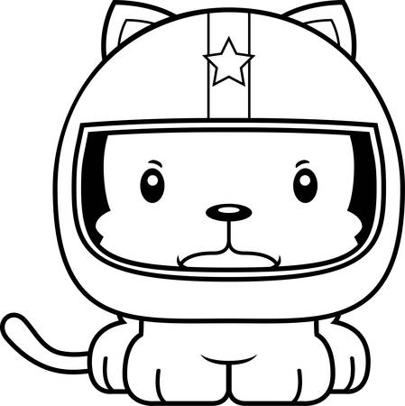 daredevil: A cartoon race car driver kitten looking angry. Illustration